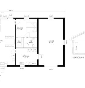 Plan och sektion med bastu och garage
