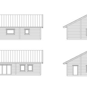 Fasader standardhus med större fönster