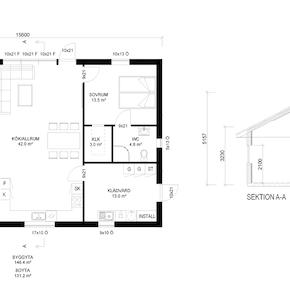 Plan standardhus med större fönster